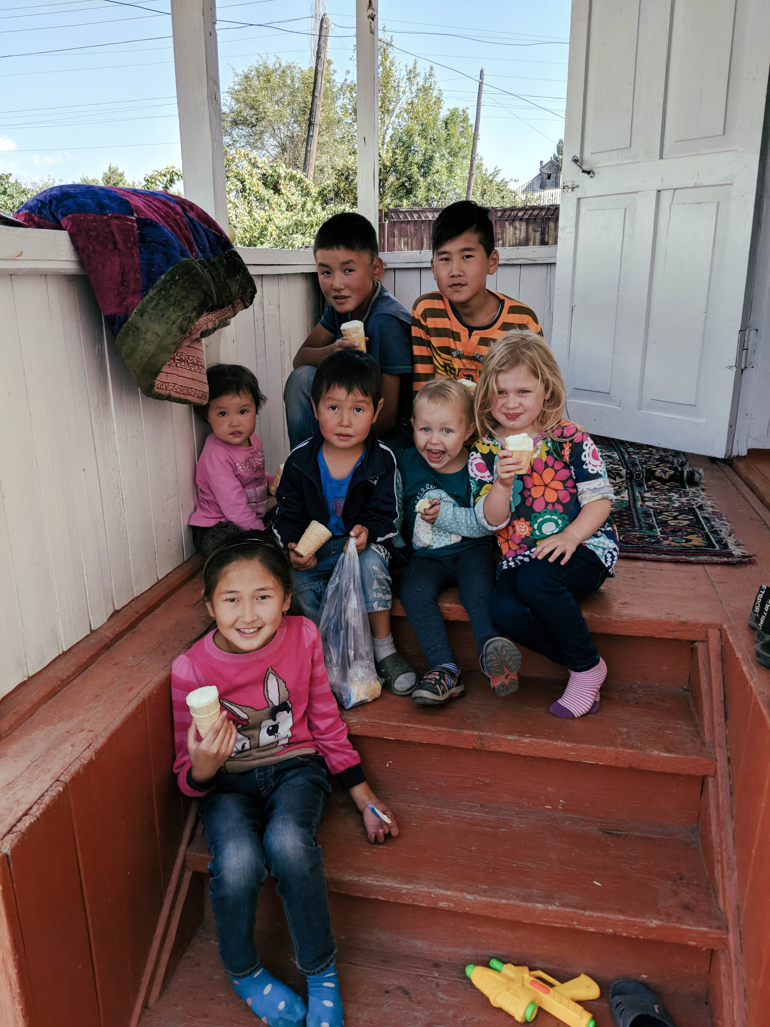 Kid's enjoying some ice cream in Semenovka, a city on the North shore of Lake Issikul. We are so grateful to at our friend Jildiz and her family for housing us during the World Nomad Games.