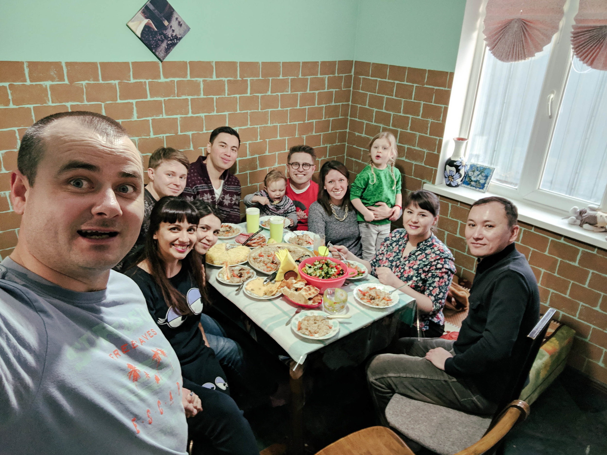 Jehovah's Witness friends from Kazakhstan who invited us over for a delicious feast.
