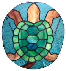 "Turtle  8"" x10"", stained glass"