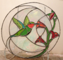 "Hummingbird Halo   12"" diameter, stained glass"