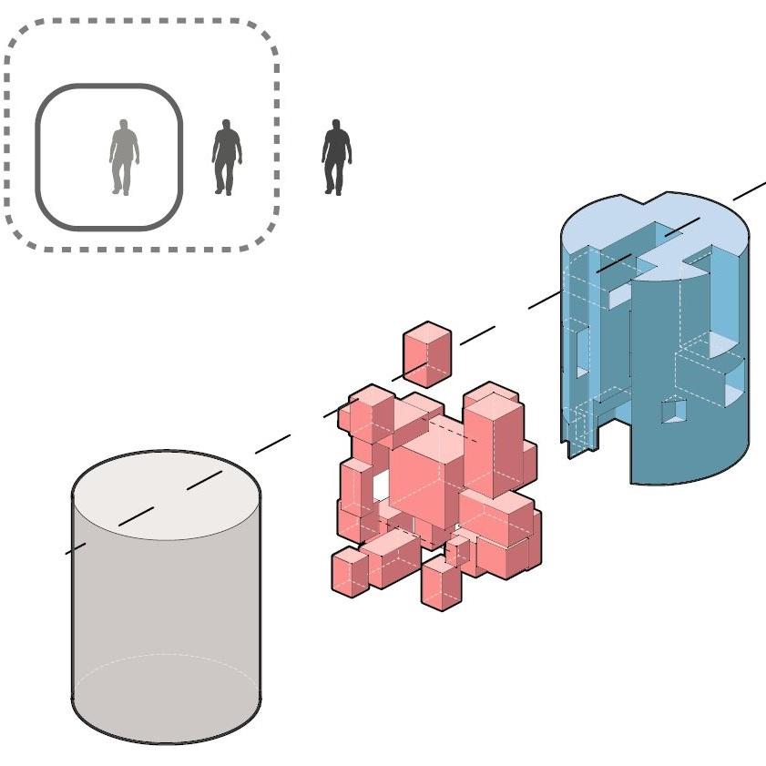 2개 차원의 내부와 0 - A = -A 를 표현하는 다이어그램