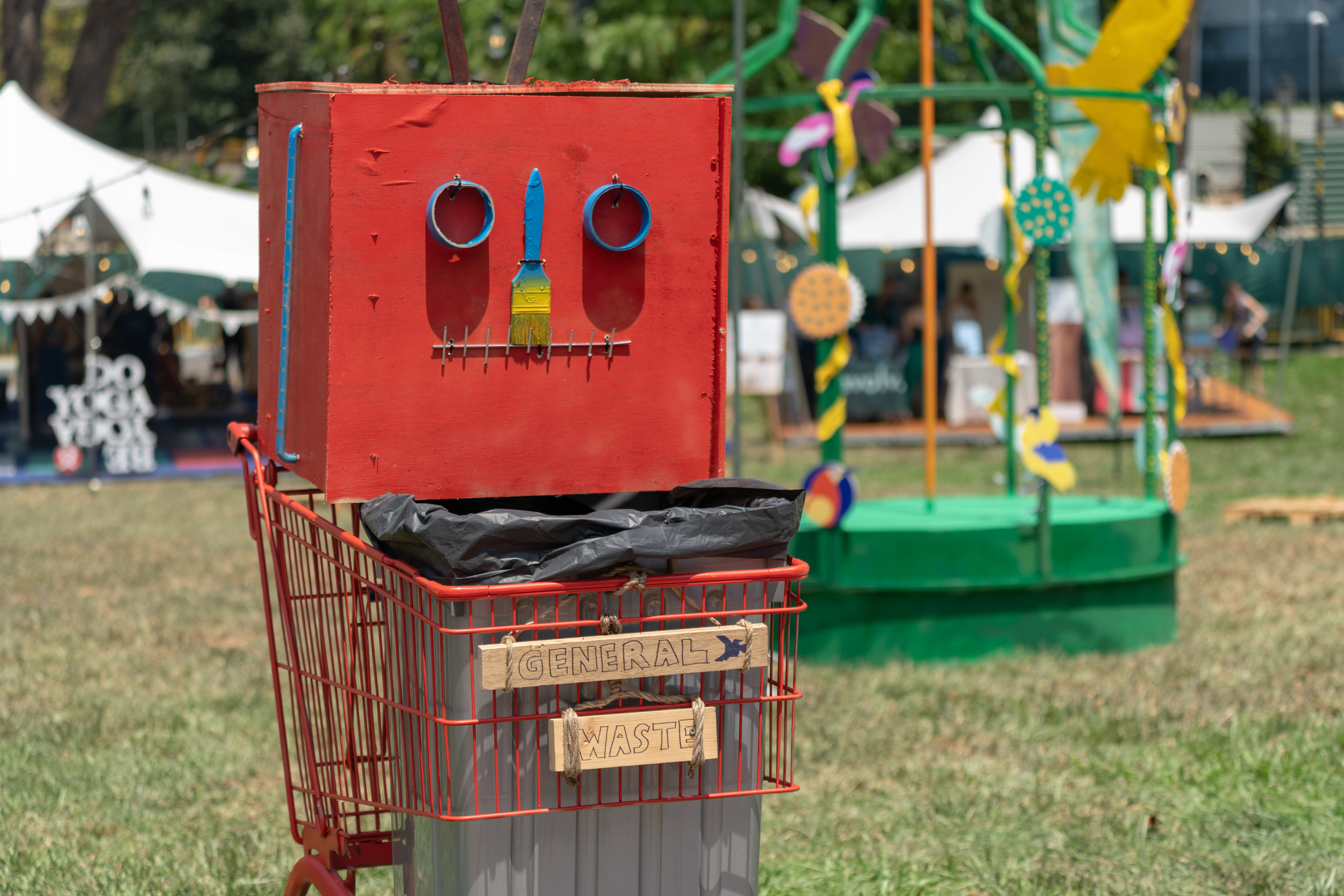 'Trash Robots'  - Functional art installations using found/recycled/unwanted objects at Garden Beats.