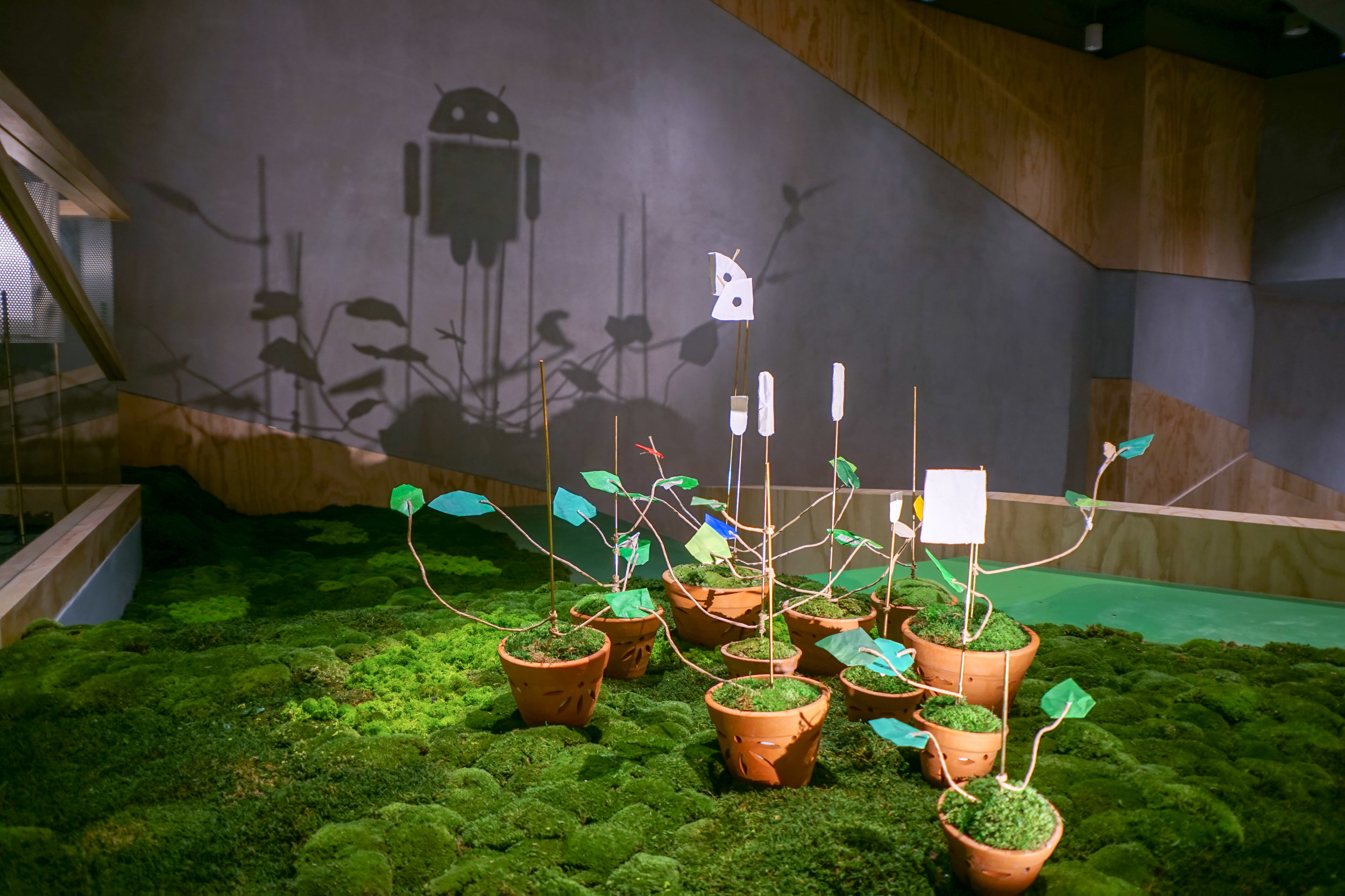 'Sprouts'  - Recycled papers as a medium to create the shadow art installation @  Google   Singapore .