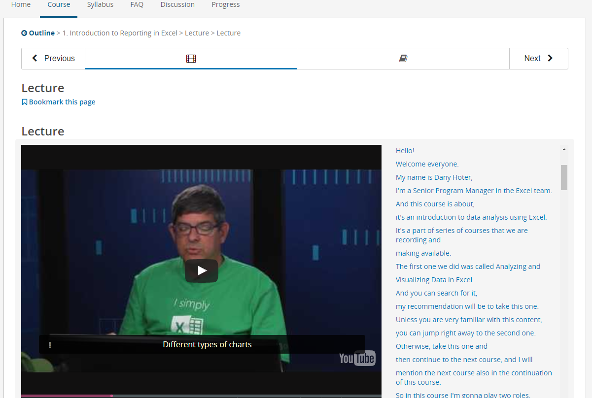 Screen grab from the first lecture -Full subtitles and transcripts are provided