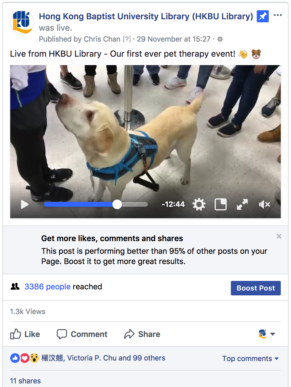 Social media content relating to the HKBU Library Dr. Pet event was extremely popular