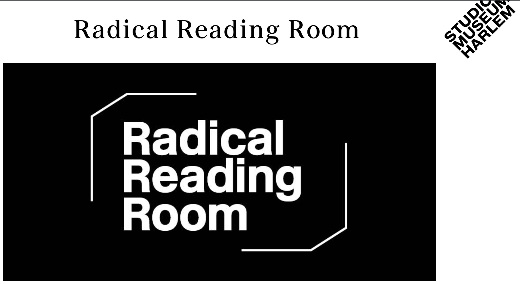 Radical Reading Room | Studio Museum Harlem