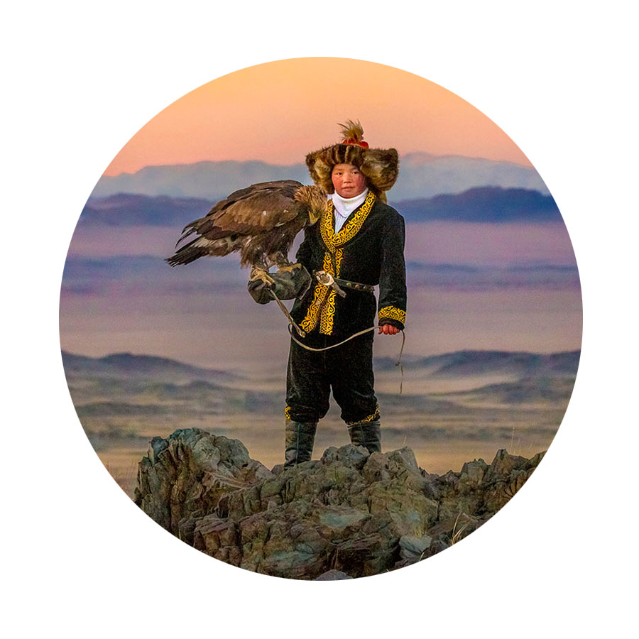 """#MIFF2016   feathered, hawking homestretch is   film 50, THE EAGLE HUNTRESS (D Otto Bell)  . """"Hope is the thing with feathers That perches in the soul And sings the tune without the words And never stops at all."""" —Emily Dickinson  (Postscript: Following up our time spent with the Eagle Huntress, Aisholpan Nurgaiv, and her golden eagle, with a restorative coffee   beneath Bruce Armstrong's mighty wedge-tailed  Bunjil  (marquette, c. 1996, painted Cypress)  .)"""