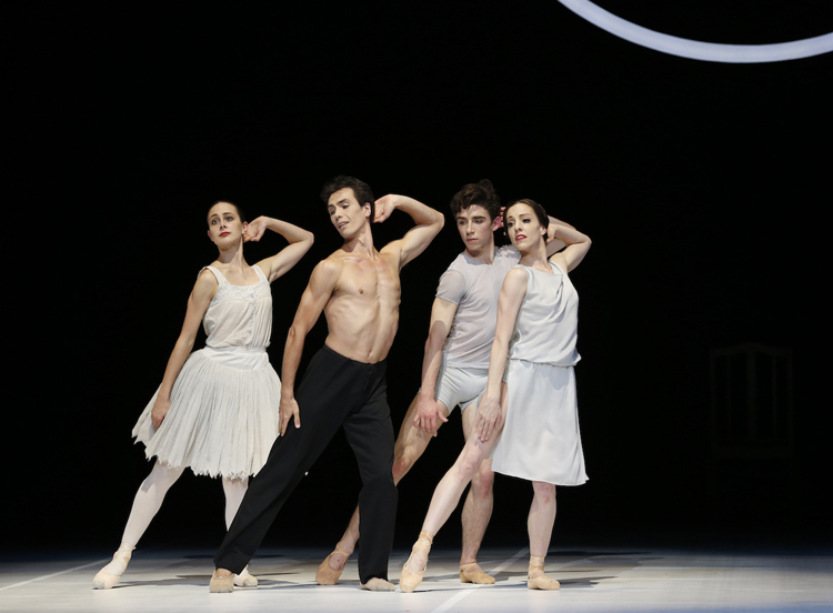 Dimity Azoury, Alexandre Riabko, François-Eloi Lavignac, and Leanne Stojmenov in  Nijinsky , photographed by Jeff Busby