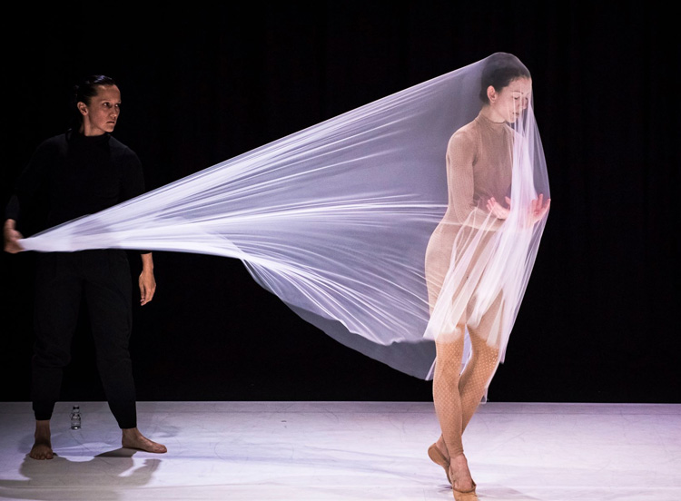 Melanie Lane and Juliet Burnett performing in  Remake , 2016, photographed by Gregory Lorenzutti