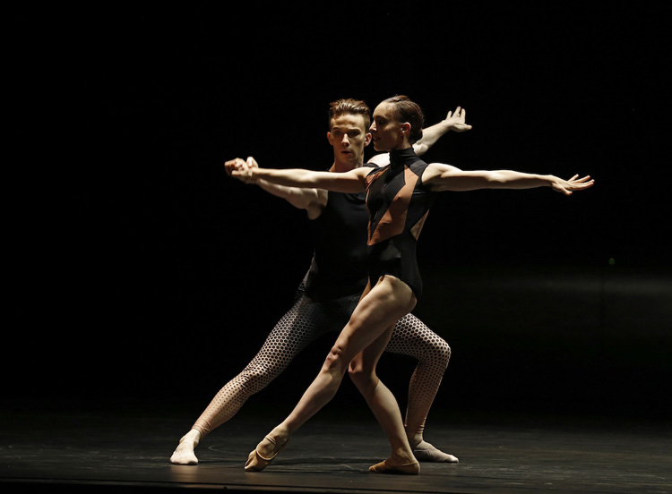 Jarryd Madden and Leanne Stojmenov of the Australian Ballet performing in Tim Harbour's  Squander and Glory  by Jeff Busby