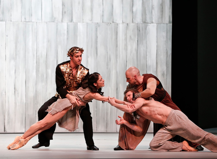 Robyn Hendricks, Kevin Jackson, Ty King-Wall, and artists from The Australian Ballet perform  Spartacus , 2018, photographed by Jeff Busby