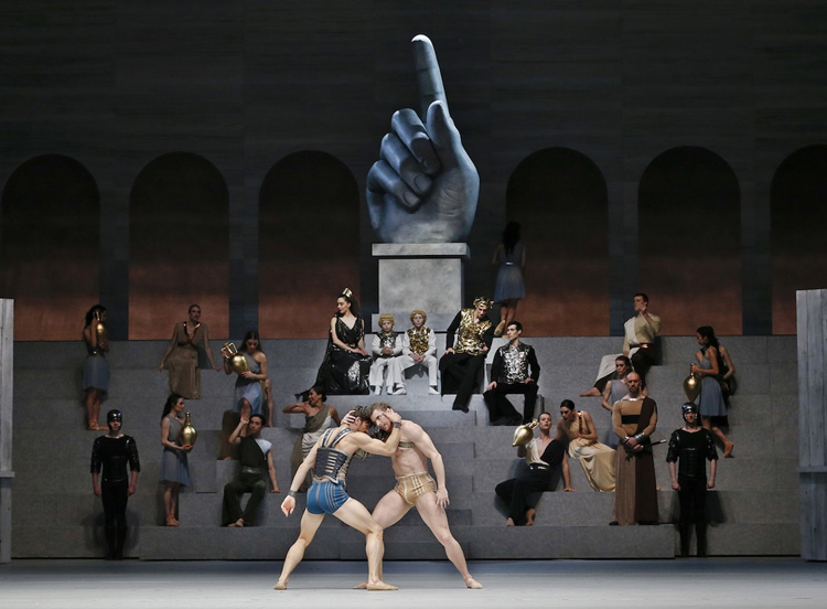 Kevin Jackson, Jake Mangakahia, and artists from The Australian Ballet perform  Spartacus , 2018, photographed by Jeff Busby