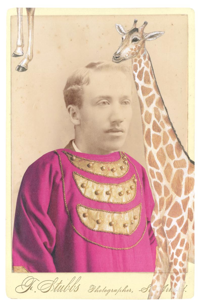 In a borrowed costume from The Firebird, designed by Natalia Goncharova, c. 1926, with an endangered Peralta giraffe (Giraffa camelopardalis peralta)
