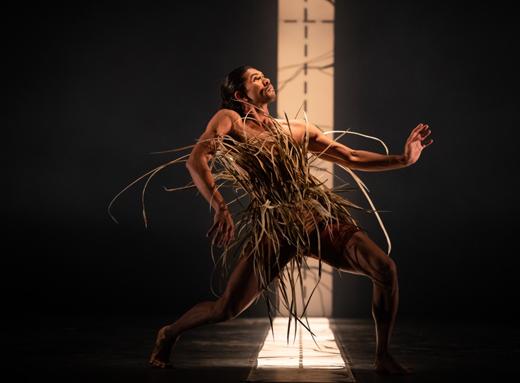 Tyrel Dulvarie from Bangarra Dance Theatre in  Unaipon , 2019, photographed by Daniel Boud