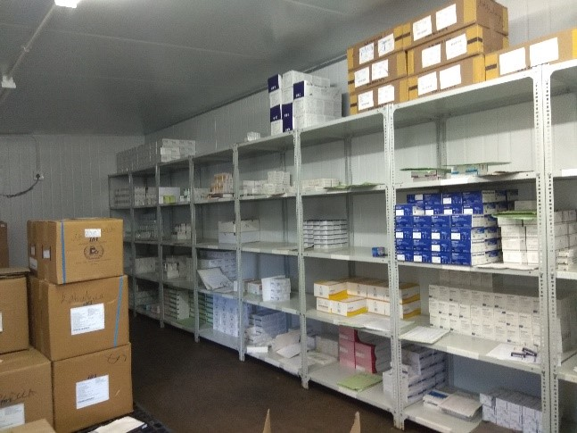 The cold storage pharmacy unit at Kabudula Community Hospital.