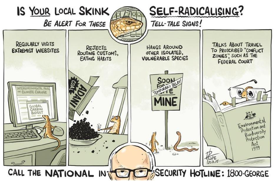 A  Canberra Times  cartoon during Mackay Conservation Group's court challenge of Adani's mine