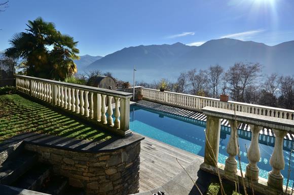 Lake view to Lake Maggiore, Orselina, Ticino, Switzerland