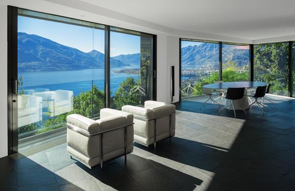 Living room, Luxury design villa in Ticino, Switzerland for sale