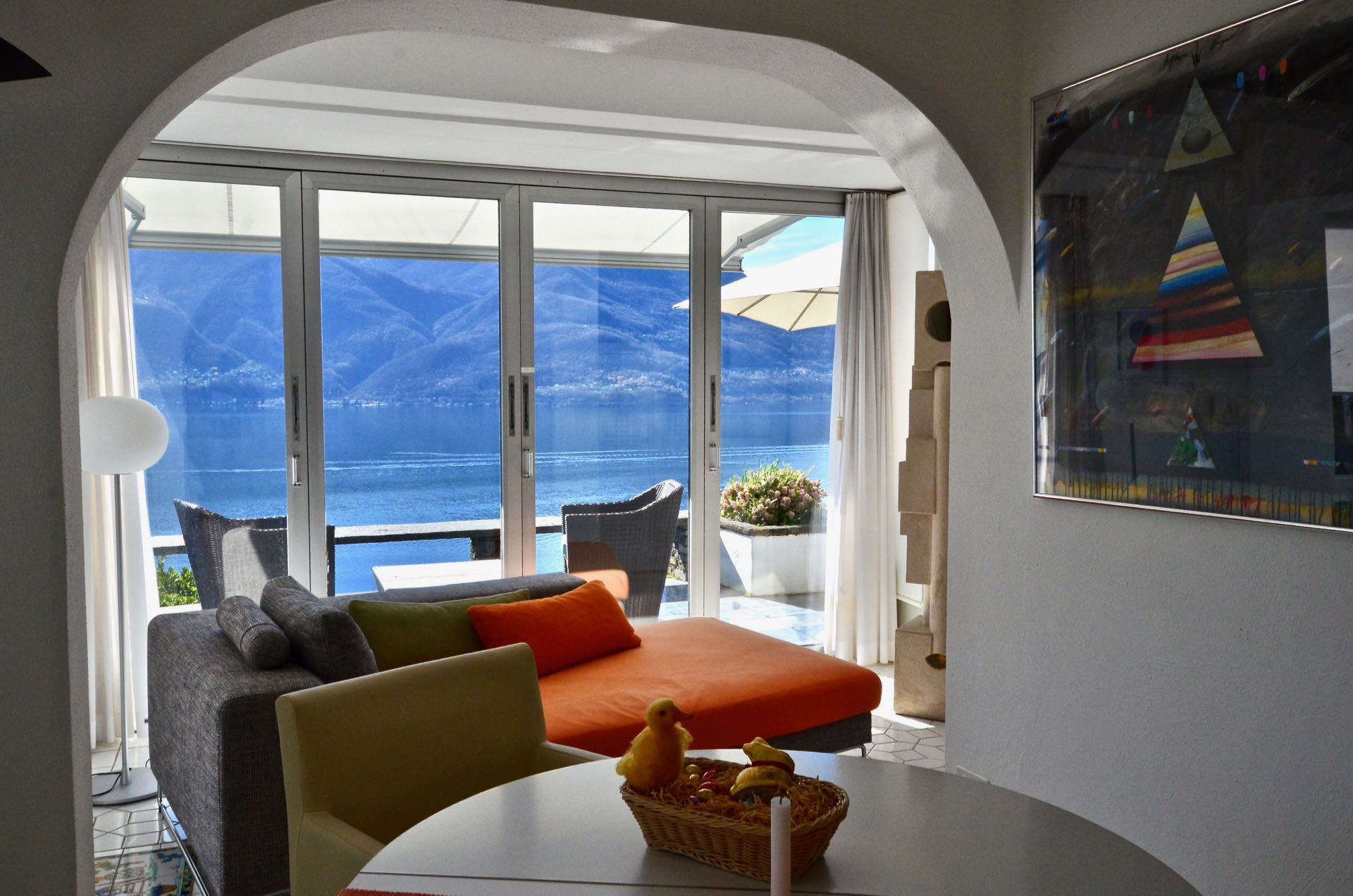 Living room with Lake Maggiore view, Switzerland - Building land for sale