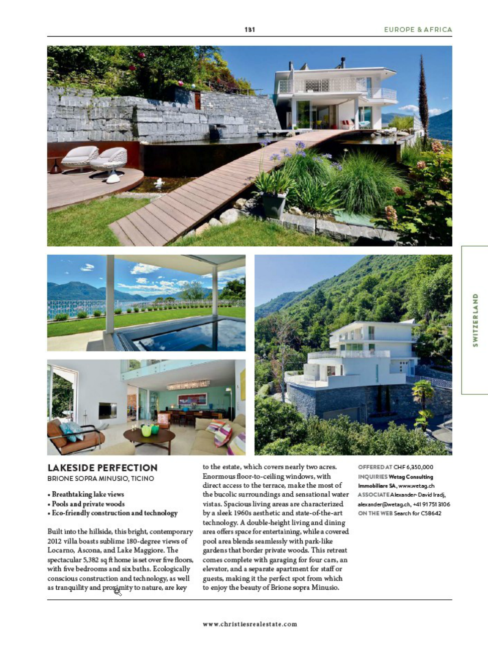 Luxury real estate in Switzerland for sale at page 131 in Christie's International Real Estate Magazine