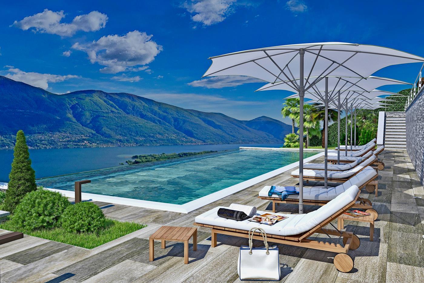 Grosser Aussenpool mit Panorama-Seeblick auf den Lago Maggiore