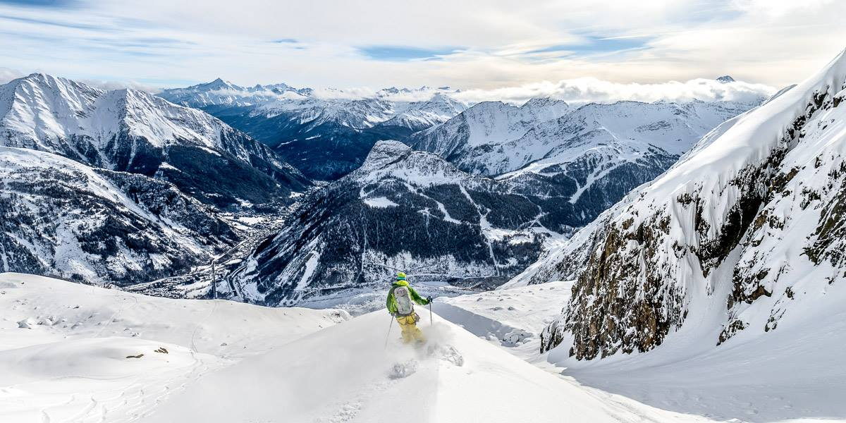 Off piste skiing on the Toula glacier high above the town of Courmayeur and the Aosta valley - photo Alex Buisse photography