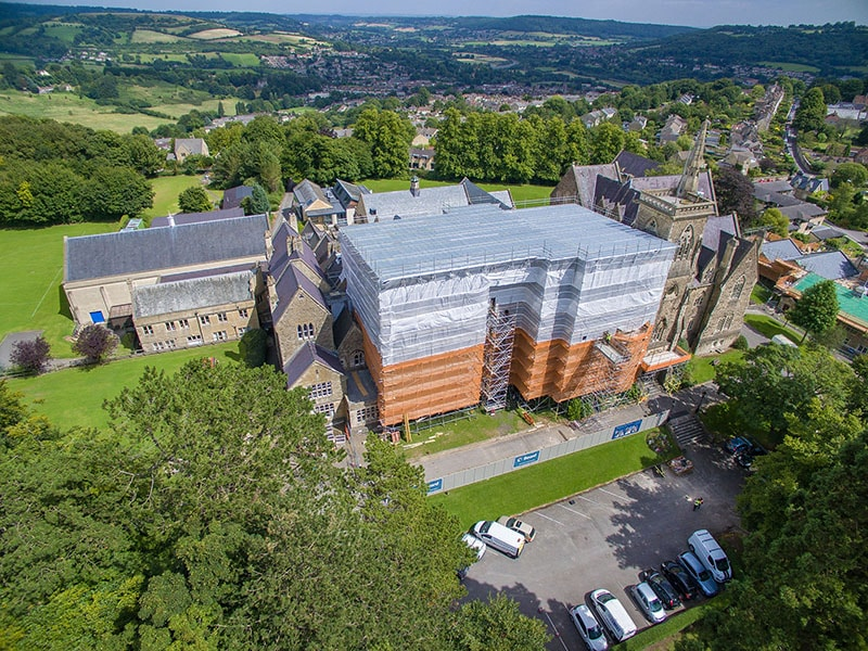 independent scaffold for refurbishment works to heritage building