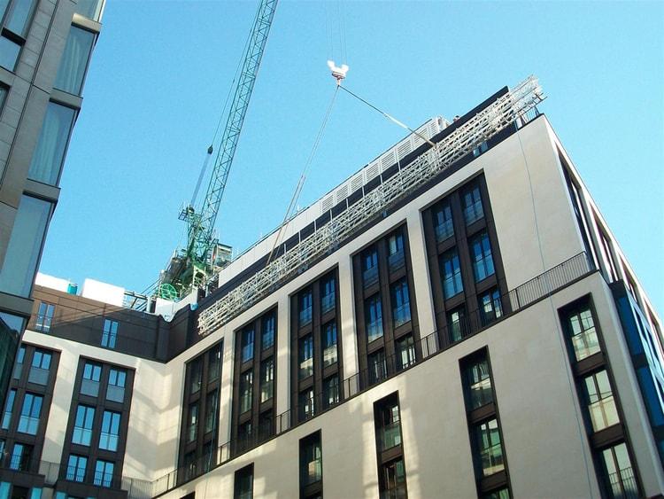 Access scaffolding for cladding to the Bulgari hotel