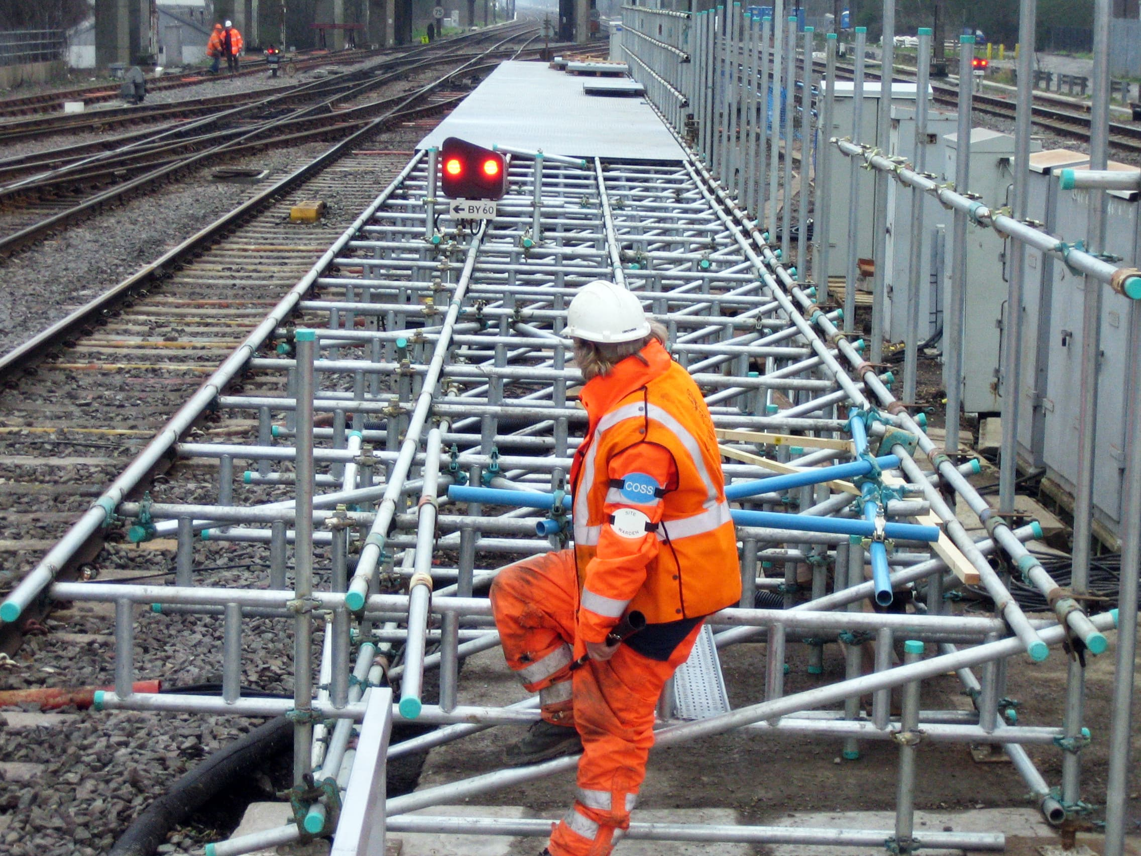Progress shot of temporary access platform at Bletchley Station