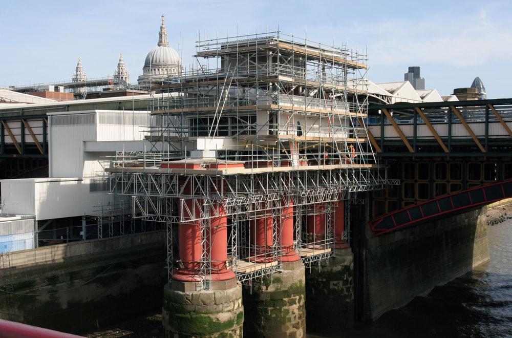 Temporary access platform built using 97% standard scaffold components