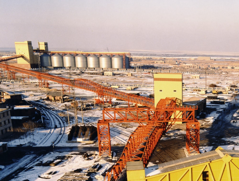 Conveyor system supported along steel gantry structures