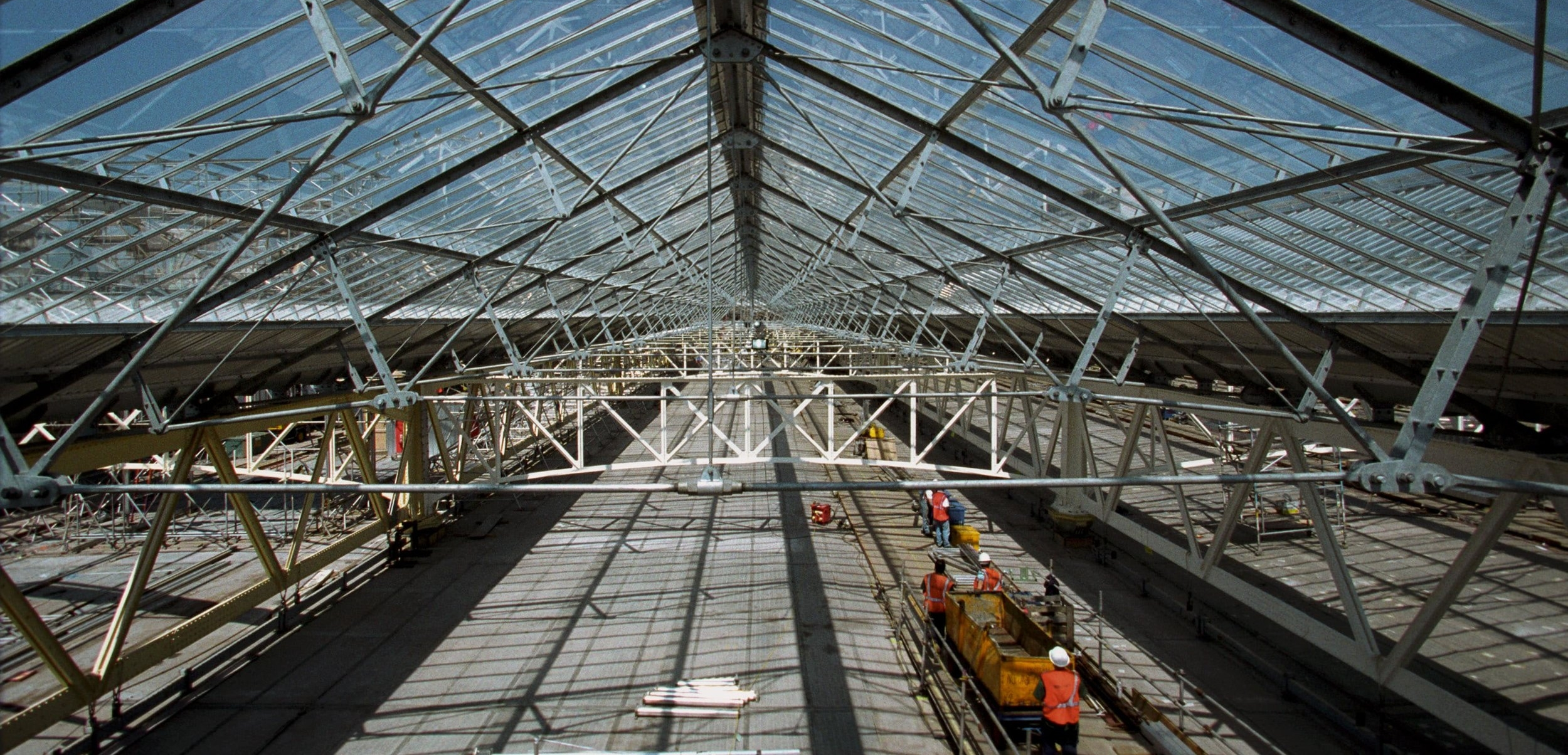 On top of the temporary scaffolding deck at Waterloo Station