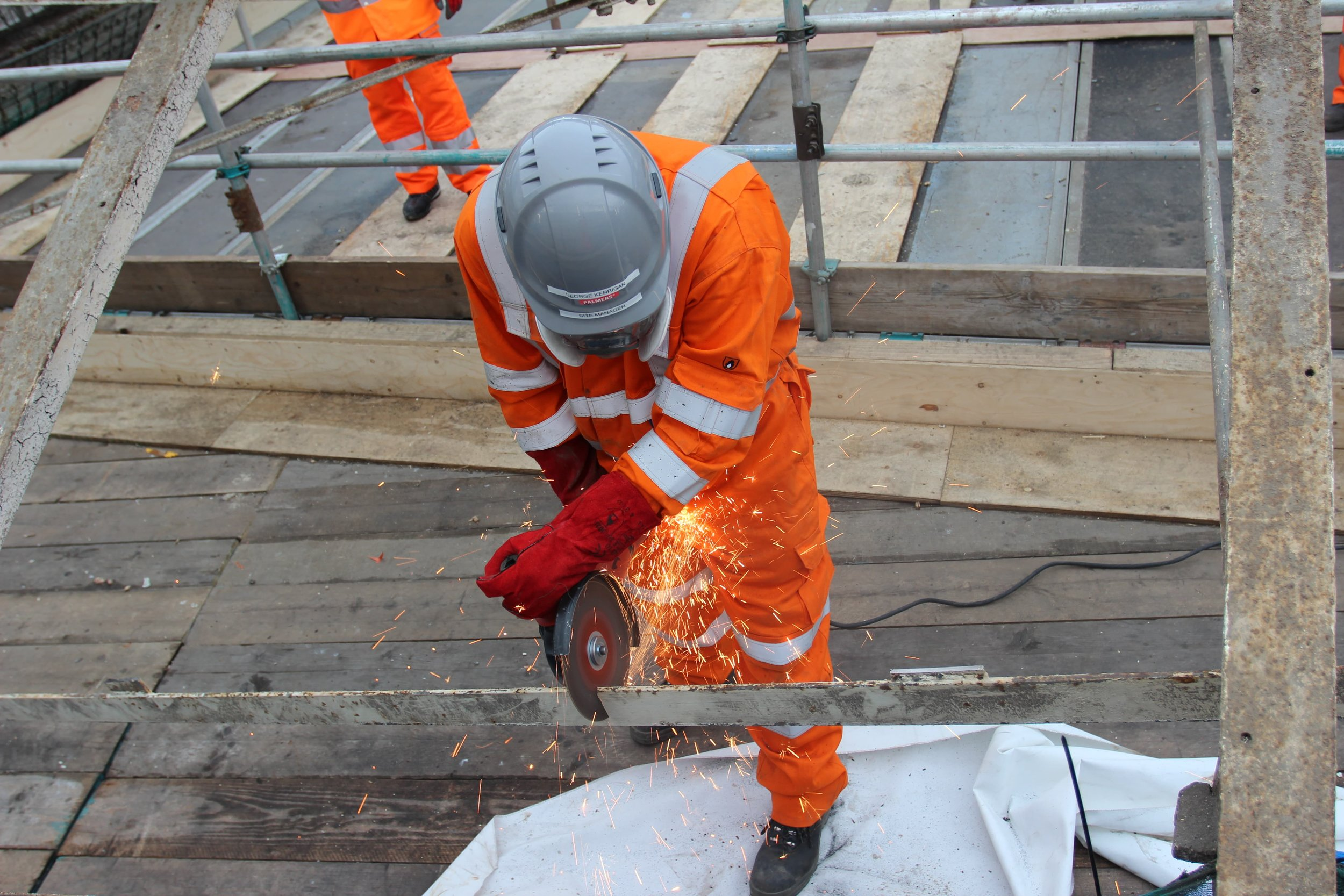 Removal of roof on top of scaffolding design access and protection