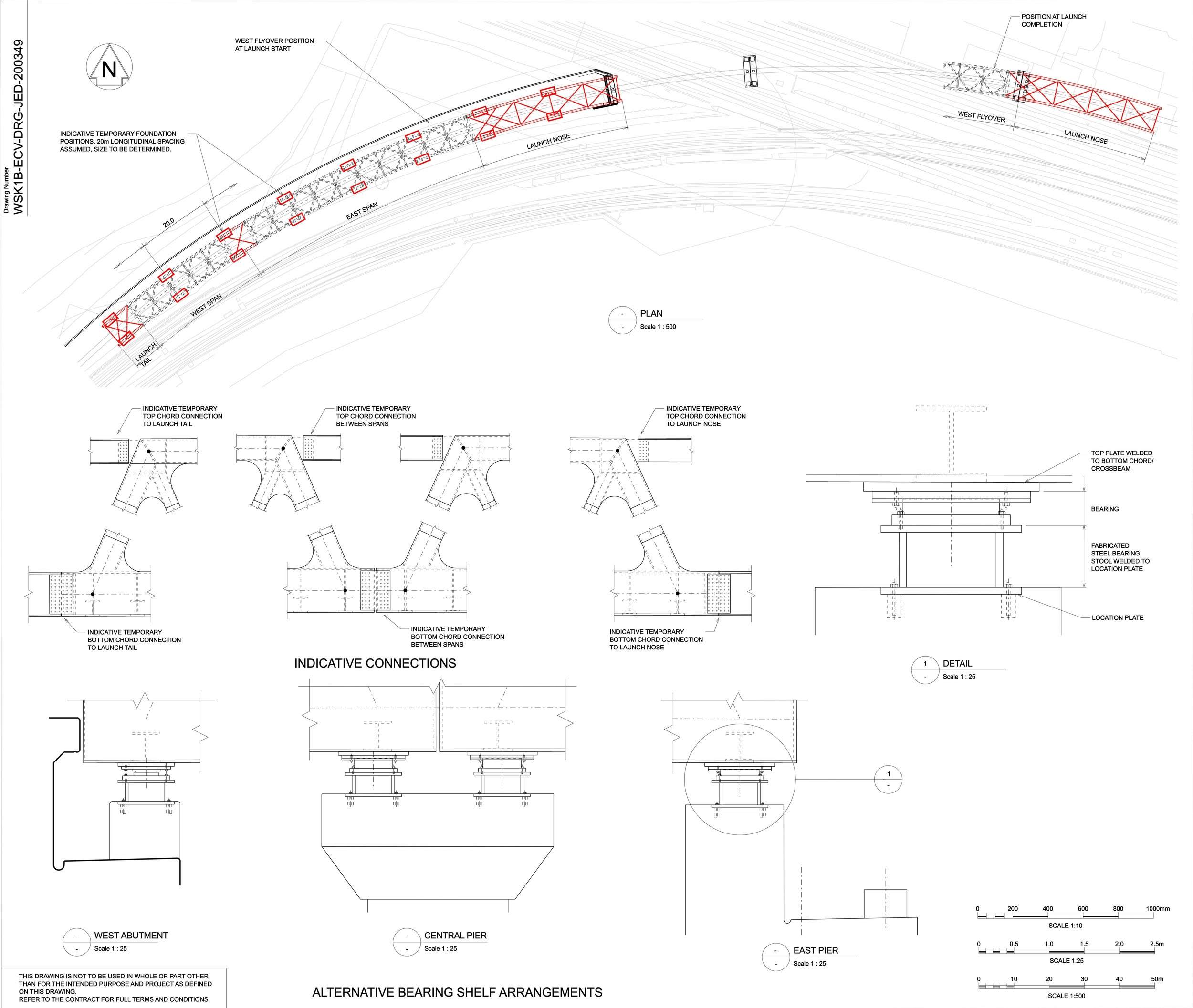 Design drawing of temporary works moving Stockley Flyover into position