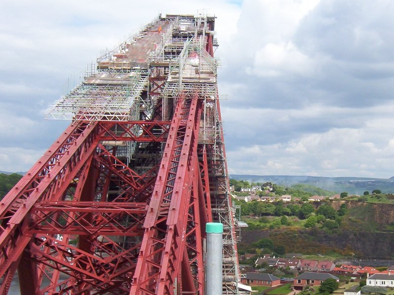 Scaffolding design section slung over the top of the Forth Rail Bridge