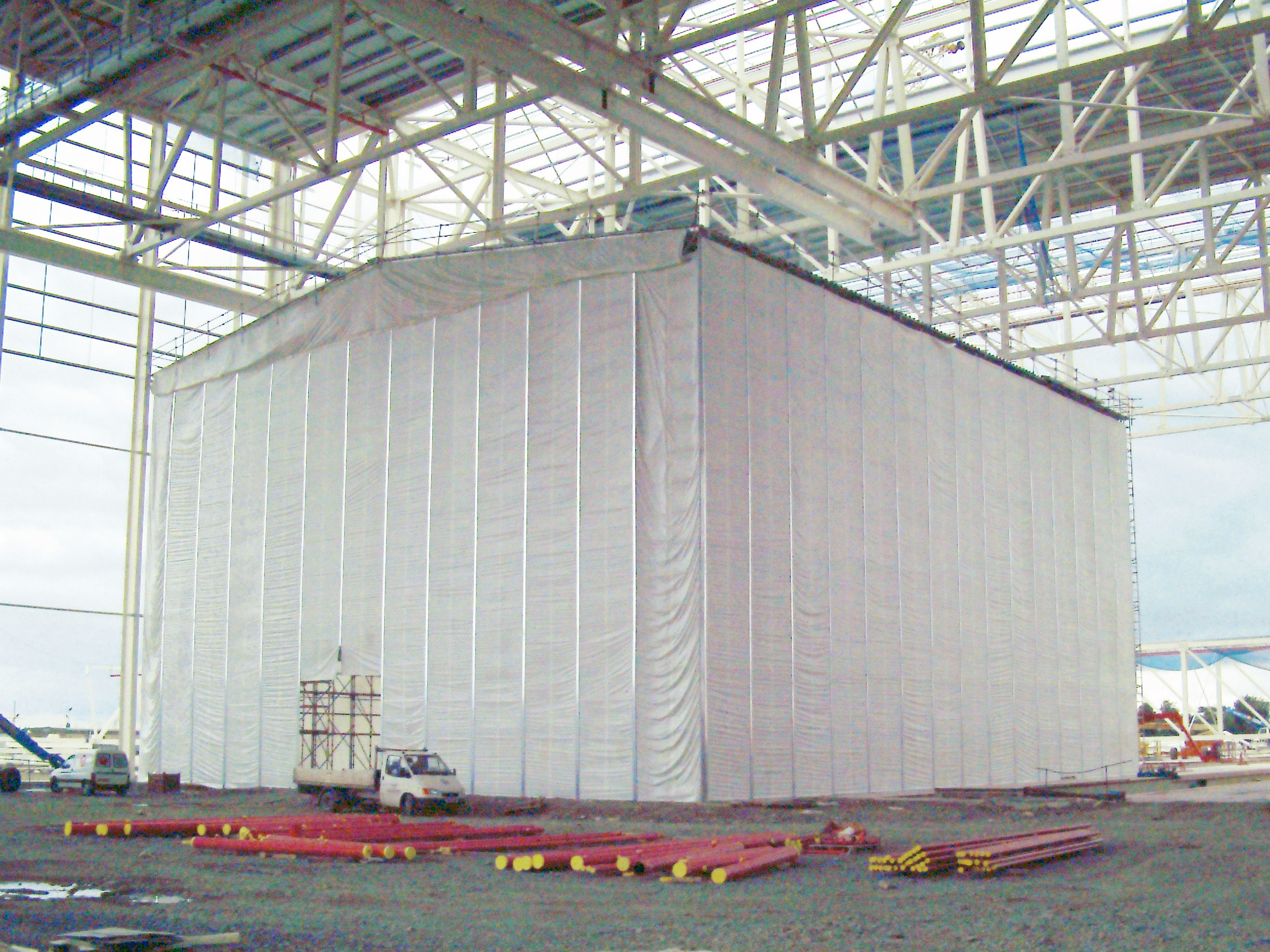Temporary building built with standard scaffolding components