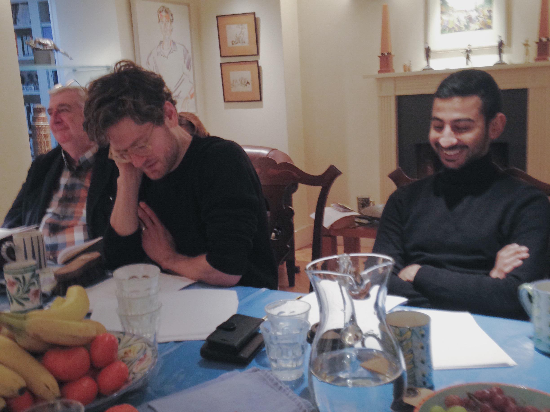 Gerard Horan, Kyle Soller and Manish Gandhi in rehearsal.