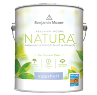 BENJAMIN MOORE NATURA™ WATERBORNE INTERIOR PAINT - Benjamin Moore Natura Waterborne Interior Paint continues Benjamin Moore's commitment to providing the most environmentally friendly paint. Benjamin Moore Natura goes beyond zero VOC* to offer zero emissions** and no harsh fumes***, making it a safer paint for your family and the environment, all without compromise to performance or colour selection. Benjamin Moore Natura is truly