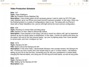 I have started a production schedule outline for the next two months.