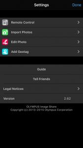 OI.Share settings menu allows you to set many options.