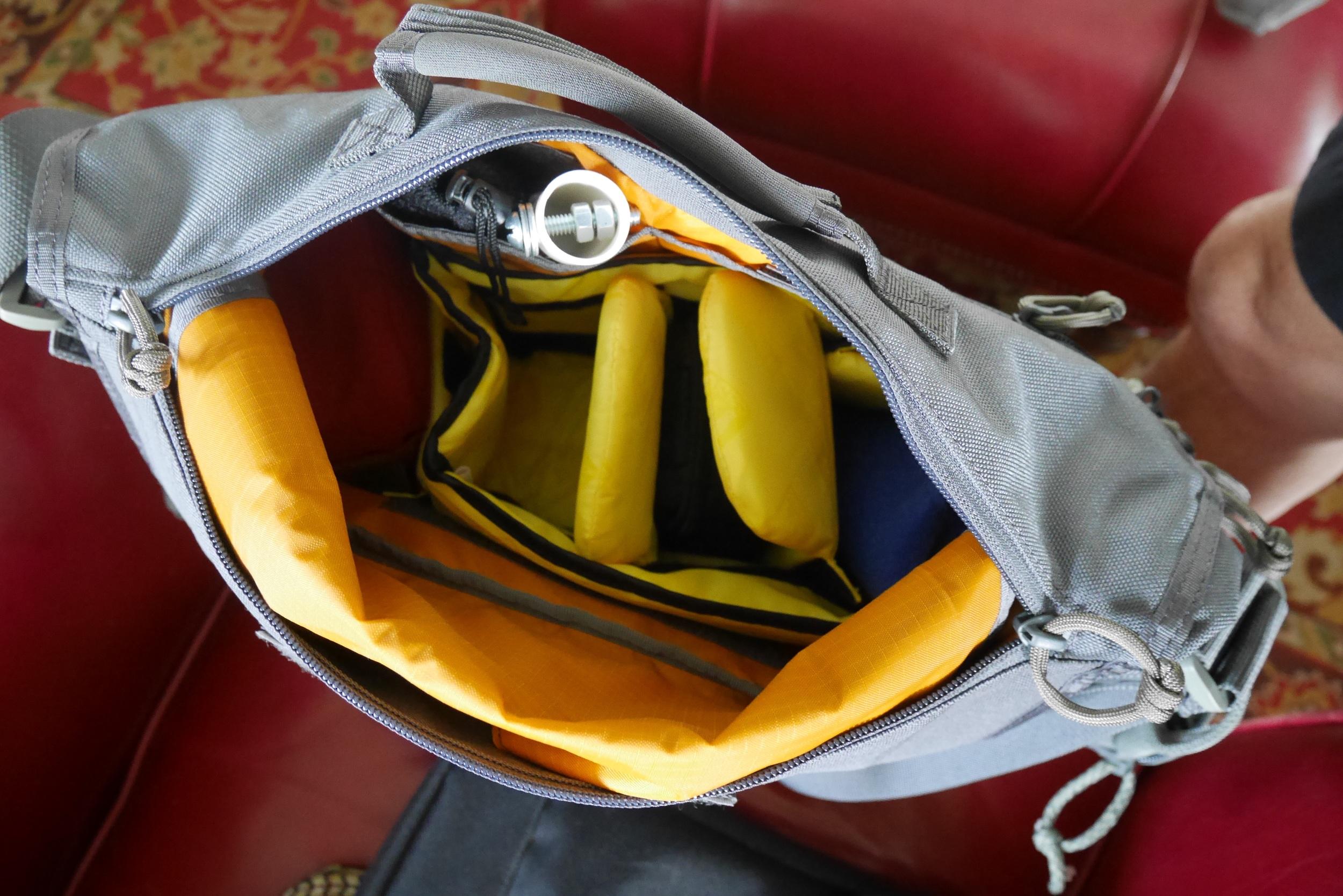View of interior through top zipper opening.