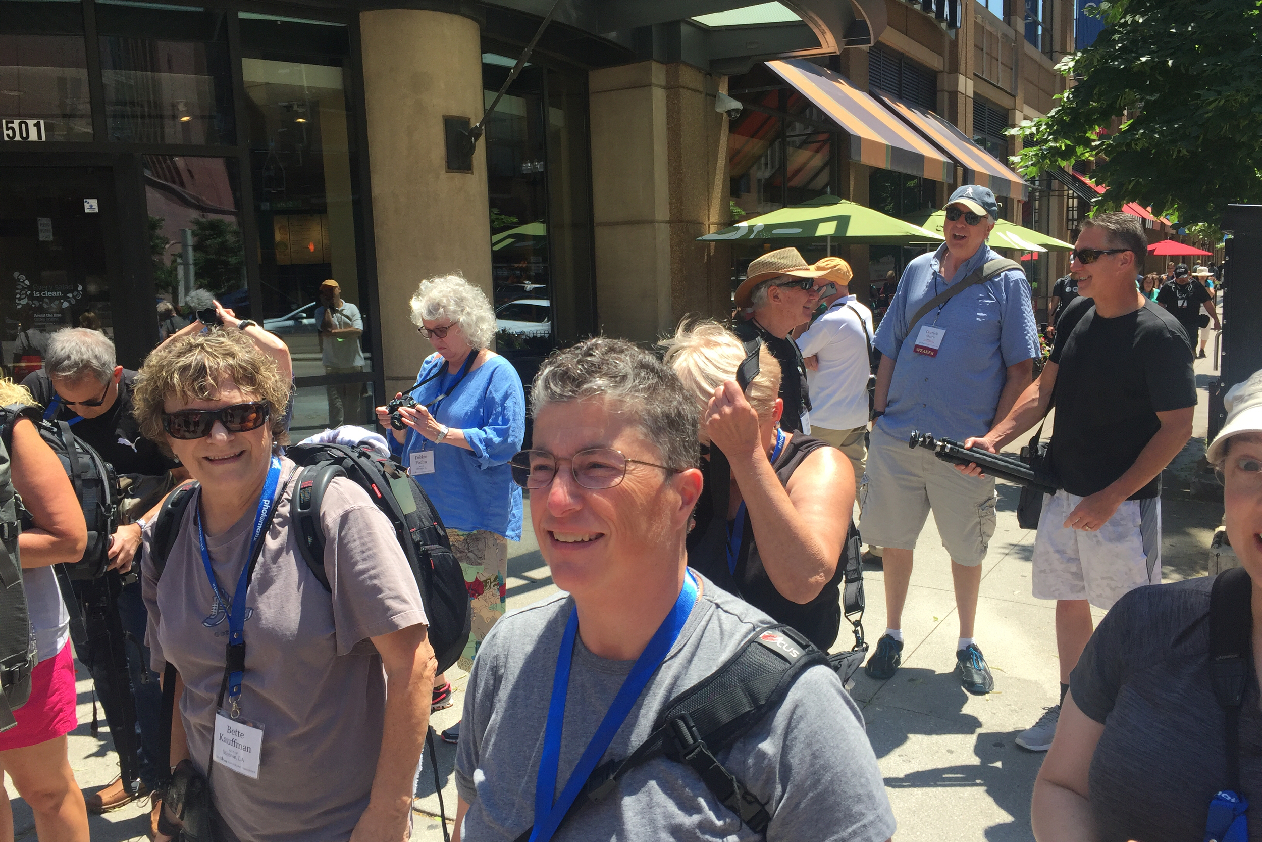 Happy conference participants heading out on a photowalk.