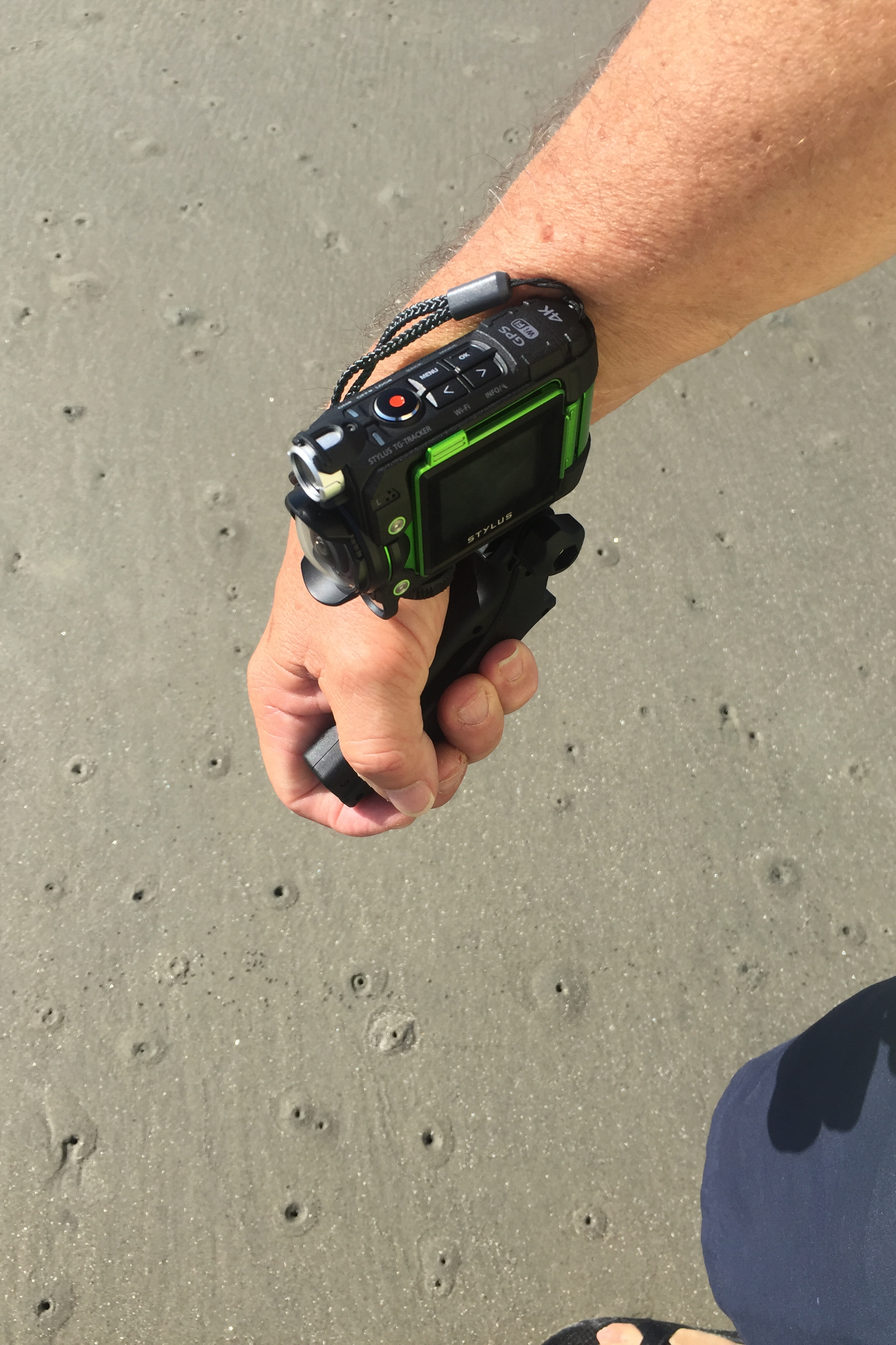 Holding the Tracker with the grip in this fashion allows you to video what's in front of you somewhat surreptitiously.