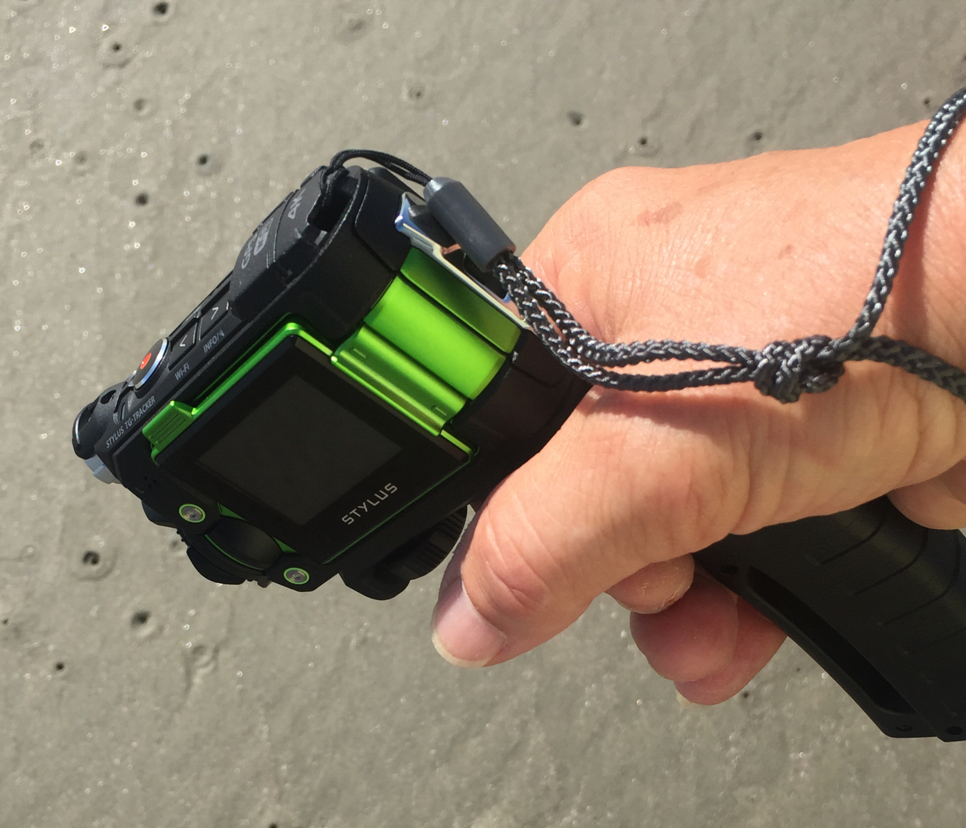 Supplied wrist strap doesn't have a limiter to tighten it to your wrist so I tied a knot where I can get my hand through loop, but strap won't slip off my wrist.
