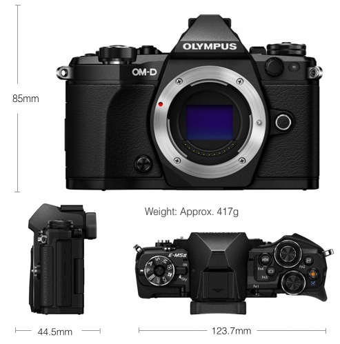 The specs of the Olympus OM-D E-M5 II camera body. [Olympus Image]