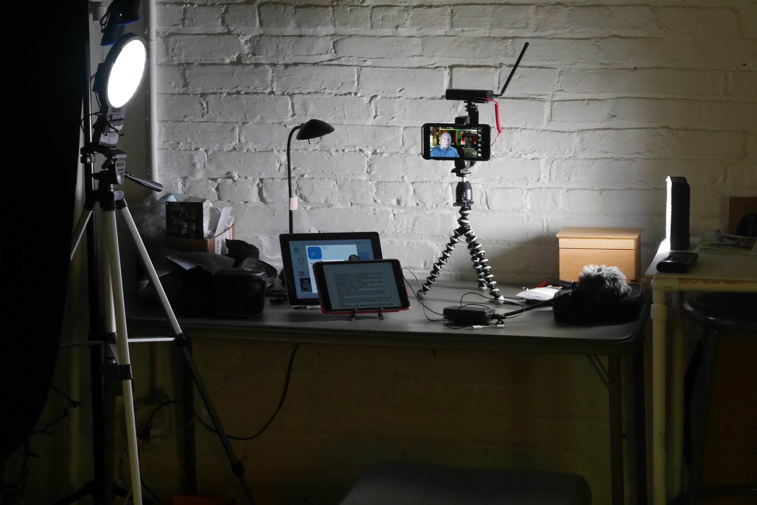 """Current setup at studio table """"desk."""""""