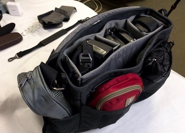 The Tenba Cooper Slim 13 bag loaded.