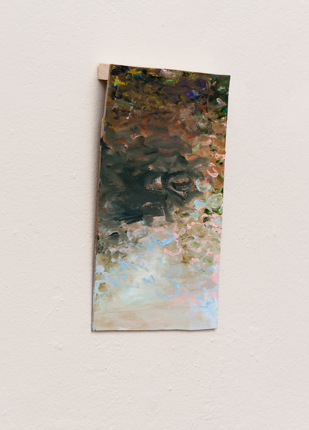 Standing in Water III   Oil on board, wood 11 × 6 × 1 inches 28 × 11 × 2.5 cm 2015