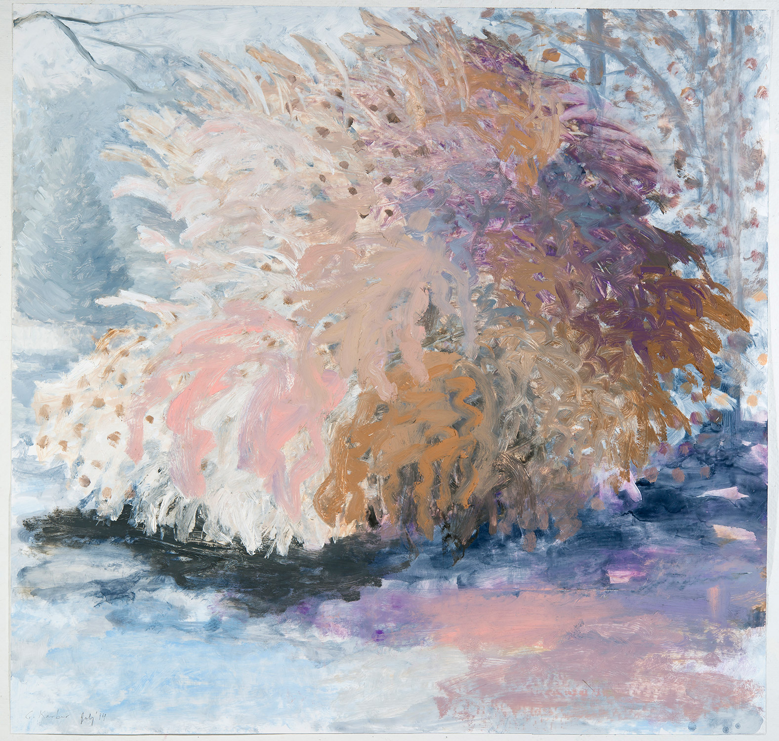 Study For Shrub On Wheels  (Color)  Oil on polystyrene 25 × 26 inches 63.5 × 66 cm 2014