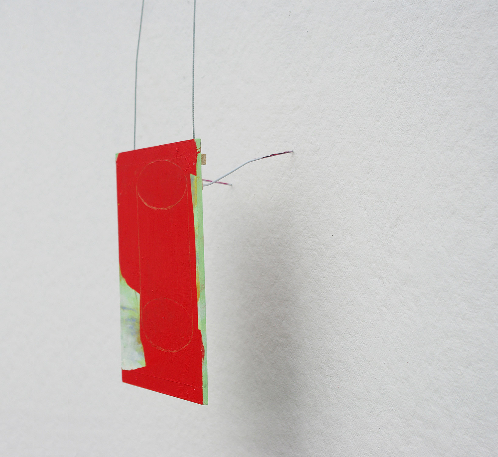 Possibly Now II   Oil on wood, wire 54 (height variable) × 7 × 4 inches 137 × 118 × 10 cm 2014